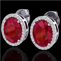 5.50 CTW Ruby & Micro VS/SI Diamond Halo Solitaire Earrings 18K White Gold - REF-81N8Y - 20257