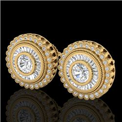 2.61 CTW VS/SI Diamond Solitaire Art Deco Stud Earrings 18K Yellow Gold - REF-381X8T - 37084