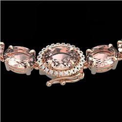 64 CTW Morganite & VS/SI Diamond Tennis Micro Halo Necklace 14K Rose Gold - REF-637N3Y - 23469