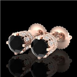 1.75 CTW Fancy Black Diamond Solitaire Art Deco Stud Earrings 18K Rose Gold - REF-109Y3K - 37353