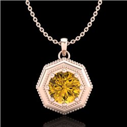 0.75 CTW Intense Fancy Yellow Diamond Art Deco Stud Necklace 18K Rose Gold - REF-100F2N - 37946