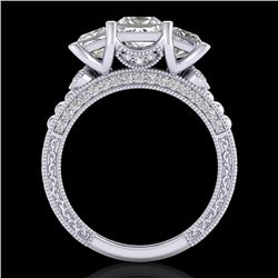 2.66 CTW Princess VS/SI Diamond Art Deco 3 Stone Ring 18K White Gold - REF-581H8A - 37157