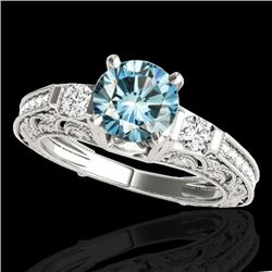 1.63 CTW Si Certified Blue Diamond Solitaire Antique Ring 10K White Gold - REF-218X2T - 34653