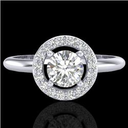 0.70 CTW Micro Pave Halo Solitaire VS/SI Diamond Ring 18K White Gold - REF-110W8F - 23287