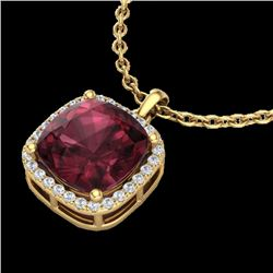 6 CTW Garnet & Micro Pave Halo VS/SI Diamond Necklace Solitaire 18K Yellow Gold - REF-54W2F - 23083