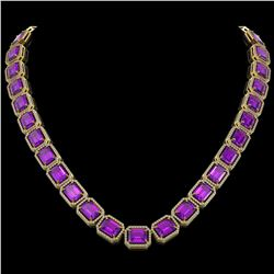 76.69 CTW Amethyst & Diamond Halo Necklace 10K Yellow Gold - REF-711H3A - 41515