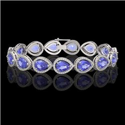 21.06 CTW Tanzanite & Diamond Halo Bracelet 10K White Gold - REF-532N4Y - 41243