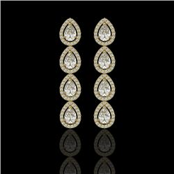 5.22 CTW Pear Diamond Designer Earrings 18K Yellow Gold - REF-969M6H - 42649