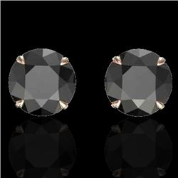 4 CTW Black VS/SI Diamond Designer Inspired Stud Earrings 14K Rose Gold - REF-125X5T - 21814