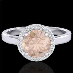 1.50 CTW Morganite & Halo VS/SI Diamond Micro Ring Solitaire 18K White Gold - REF-60K5W - 21634