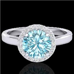 2 CTW Sky Blue Topaz & Halo VS/SI Diamond Micro Ring Solitaire 18K White Gold - REF-48A5X - 21623