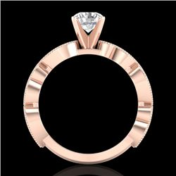 1.01 CTW VS/SI Diamond Solitaire Art Deco Ring 18K Rose Gold - REF-218K2W - 37317