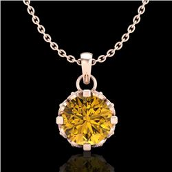 0.85 CTW Intense Fancy Yellow Diamond Art Deco Stud Necklace 18K Rose Gold - REF-109M3H - 37372
