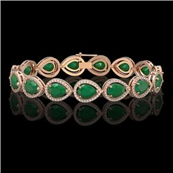 30.06 CTW Emerald & Diamond Halo Bracelet 10K Rose Gold - REF-393K3W - 41235