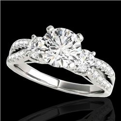 1.75 CTW H-SI/I Certified Diamond 3 Stone Ring 10K White Gold - REF-216T4M - 35412