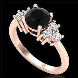 1.5 CTW Fancy Black Diamond Solitaire Engagement Classic Ring 18K Rose Gold - REF-120F2N - 37598