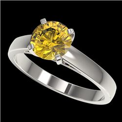 1.50 CTW Certified Intense Yellow SI Diamond Solitaire Ring 10K White Gold - REF-216T3M - 33027