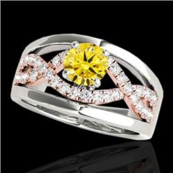 1.55 CTW Certified Si Intense Yellow Diamond Solitaire Ring 10K White & Rose Gold - REF-227K3W - 352