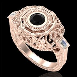 0.75 CTW Fancy Black Diamond Solitaire Engagement Art Deco Ring 18K Rose Gold - REF-118F2N - 37815