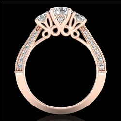 1.81 CTW VS/SI Diamond Art Deco 3 Stone Ring 18K Rose Gold - REF-262X5T - 37146