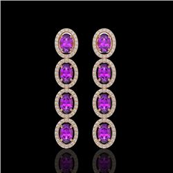 5.56 CTW Amethyst & Diamond Halo Earrings 10K Rose Gold - REF-103X3T - 40542