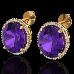 20 CTW Amethyst & Micro VS/SI Diamond Halo Pave Earrings 18K Yellow Gold - REF-123M3H - 20263