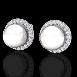 0.50 CTW Micro Pave Halo VS/SI Diamond & Pearl Earrings 18K White Gold - REF-61K5W - 21506
