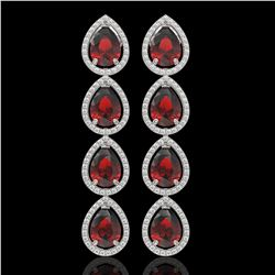 9.25 CTW Garnet & Diamond Halo Earrings 10K White Gold - REF-151N3Y - 41327