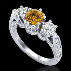 2.18 CTW Intense Fancy Yellow Diamond Art Deco 3 Stone Ring 18K White Gold - REF-254W5F - 38113