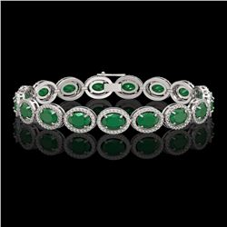22.89 CTW Emerald & Diamond Halo Bracelet 10K White Gold - REF-291Y5K - 40601