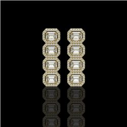 5.33 CTW Emerald Cut Diamond Designer Earrings 18K Yellow Gold - REF-1125Y6K - 42793