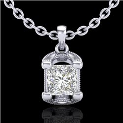 1.25 CTW Princess VS/SI Diamond Solitaire Art Deco Necklace 18K White Gold - REF-315K2W - 37154