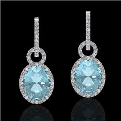 6 CTW Aquamarine & Micro Pave Halo VS/SI Diamond Earrings 14K White Gold - REF-125A5X - 22728