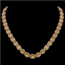 46.39 CTW Fancy Citrine & Diamond Halo Necklace 10K Rose Gold - REF-553F6N - 40596