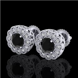 1.32 CTW Fancy Black Diamond Solitaire Art Deco Stud Earrings 18K White Gold - REF-100T2M - 37835