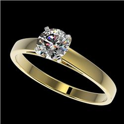 0.76 CTW Certified H-SI/I Quality Diamond Solitaire Engagement Ring 10K Yellow Gold - REF-97M5H - 36