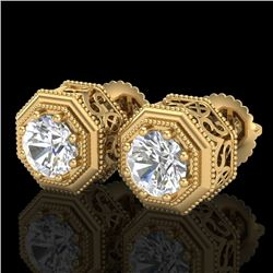 1.07 CTW VS/SI Diamond Solitaire Art Deco Stud Earrings 18K Yellow Gold - REF-190N9Y - 37096