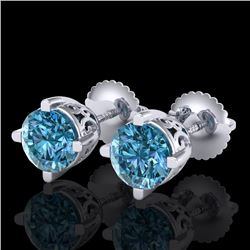 1.5 CTW Fancy Intense Blue Diamond Art Deco Stud Earrings 18K White Gold - REF-263X6T - 38069