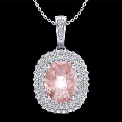 2.75 CTW Morganite & Micro Pave VS/SI Diamond Halo Necklace 18K White Gold - REF-96Y4K - 20416