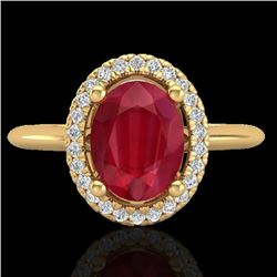 2 CTW Ruby & Micro Pave VS/SI Diamond Ring Solitaire Halo 18K Yellow Gold - REF-56M9H - 21019