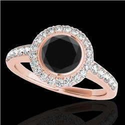 1.5 CTW Certified VS Black Diamond Solitaire Halo Ring 10K Rose Gold - REF-76X4T - 34445