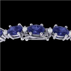 26.3 CTW Tanzanite & VS/SI Certified Diamond Eternity Bracelet 10K White Gold - REF-345A5X - 29463