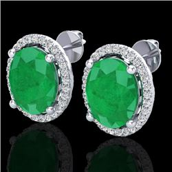 6 CTW Emerald & Micro Pave VS/SI Diamond Earrings Halo 18K White Gold - REF-101A6X - 21053