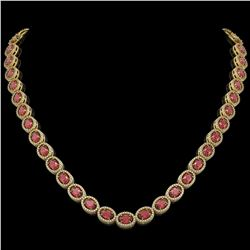 31.1 CTW Tourmaline & Diamond Halo Necklace 10K Yellow Gold - REF-600W2F - 40420