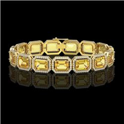 34.91 CTW Fancy Citrine & Diamond Halo Bracelet 10K Yellow Gold - REF-336K4W - 41566