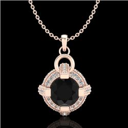 1.57 CTW Fancy Black Diamond Solitaire Micro Pave Stud Necklace 18K Rose Gold - REF-106N4Y - 37633