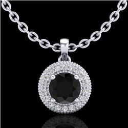 1 CTW Fancy Black Diamond Solitaire Art Deco Stud Necklace 18K White Gold - REF-98H2A - 37660