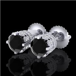 1.75 CTW Fancy Black Diamond Solitaire Art Deco Stud Earrings 18K White Gold - REF-109A3X - 37352