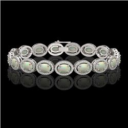 14.24 CTW Opal & Diamond Halo Bracelet 10K White Gold - REF-298K2W - 40616