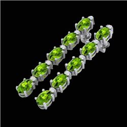 10.36 CTW Peridot & VS/SI Certified Diamond Earrings 10K White Gold - REF-65H8A - 29401